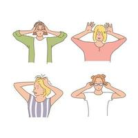 Women are making playful gestures with their hands. hand drawn style vector design illustrations.