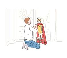 A father is putting a super hero cape on his son. hand drawn style vector design illustrations.