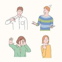 People are making negative gestures. hand drawn style vector design illustrations.