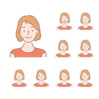 Collection of icons of various facial expressions of women.  hand drawn style vector design illustrations.