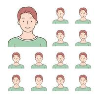 Collection of icons of various facial expressions of men. hand drawn style vector design illustrations.