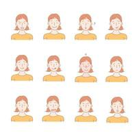 Collection of icons of various facial expressions of girl.  hand drawn style vector design illustrations.