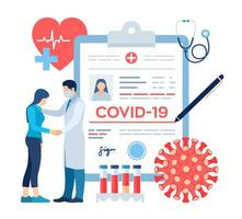 Medical diagnosis - Coronavirus 2019-nCov. Medical concept of COVID-19. Doctor taking care of patient. Coronavirus symptoms. Lungs infection. Dangerous corona virus pandemic risk. vector