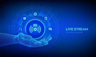 Transmisión en vivo en mano robótica. traducción en línea o concepto de seminario web en pantalla virtual. conferencia por internet. seminario basado en la web. concepto de formación o aprendizaje a distancia. vector