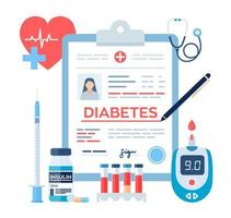 Medical diagnosis - Diabetes. Diabetes mellitus type 2 and insulin production concept. Blood glucose meter, pills, syringe and insulin vial. vector