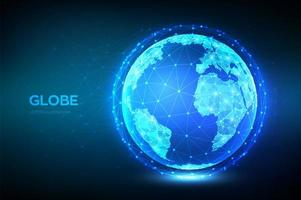 Earth globe illustration. Abstract polygonal planet. Low poly design. Global network connection. Blue futuristic background with planet Earth. Internet and technology. vector