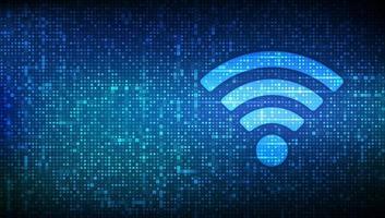 icono de red wi-fi. señal wi fi hecha con código binario. acceso wlan, símbolo de señal de punto de acceso inalámbrico. zona de conexión móvil. transferencia de datos. enrutador o transmisión móvil. vector