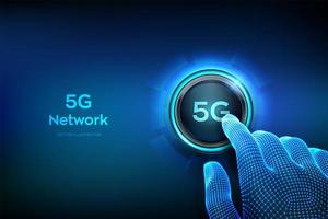 5G network wireless systems and internet of things. Closeup finger about to press a button. Smart city and communication network. 5G wireless mobile internet wifi connection. vector