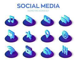 Social media apps isons set. Social media 3d isometric icons. Mobile apps. Created For Mobile, Web, Decor, Application. Perfect for web design, banner and presentation. vector