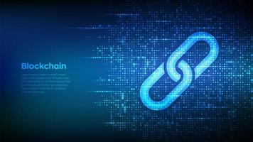 Link icon made with binary code. Blockchain technology. Cooperation symbol. Communication, security, internet safety, connect concept. Digital code background with digits 1.0. vector