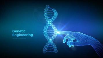 mano tocando la secuencia de adn moléculas estructura malla. plantilla editable de código de ADN de estructura metálica. Ingeniería genética. investigación médica. concepto de ciencia y tecnología. vector