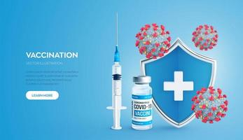 Vaccination concept. Immunization campaign. Vaccine shot. Health care and protection. Syringe with a vaccine bottle protection shield and virus cells. Medical treatment. vector