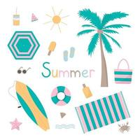 Summer beach sticker icon isolated set flat design. Perfect for banner, badges, symbols. vector