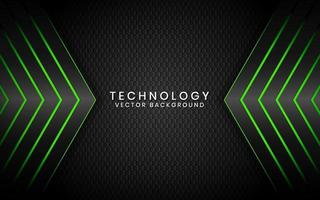 Abstract 3D black technology background overlap layers on dark space with green light effect decoration. Modern graphic design template elements for poster, flyer, brochure, or banner vector