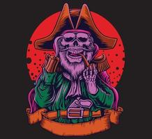 Ilustración de pirata de calavera vector