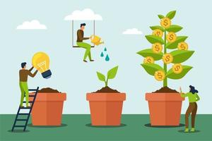 People watering money tree and grow up vector