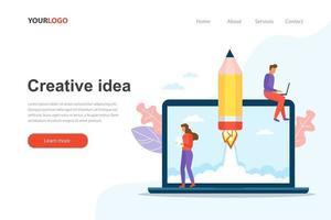 Creative idea landing page website vector