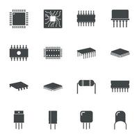 Electronic microchip components icons. Vector illustration