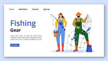 plantilla de vector de página de aterrizaje de artes de pesca. idea de interfaz de sitio web de ocupación marina con ilustraciones planas. diseño de la página de inicio del pescador. banner web de equipo de pesca, concepto de dibujos animados de página web