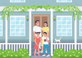 Happy family posing on house patio flat color vector illustration