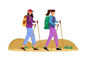 Budget tourism flat vector illustration. Hiking activity. Cheap travelling choice. Active vacation. Young women on a mountain trip. Walking tour isolated cartoon character on white background