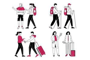 Budget tourism flat contour vector illustration set. Cheap travelling ideas isolated cartoon outline character on white background. Couchsurfing and hitchhiking. Getting ready for trip simple drawing