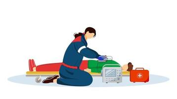 Paramedic giving first aid with defibrillator flat illustration. Emergency doctor, medic and injured patient cartoon characters. Reanimation, urgency care medical specialist, rescuer isolated on white vector