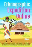 Ethnographic expedition online brochure template. Flyer, booklet, leaflet concept with flat illustration. Vector page cartoon layout for magazine. Exploration advertising invitation with text space