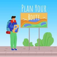 Plan your route social media post mockup. Boy with map. Active vacation. Advertising banner design template. Social media booster, content layout. Promotion poster, print ads with flat illustrations vector