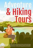Adventure and hiking tours brochure template. Flyer, booklet, leaflet concept with flat illustration. Vector page cartoon layout for magazine. Expedition advertising invitation with text space