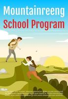 Mountainreeng school program brochure template. Flyer, booklet, leaflet concept with flat illustration. Vector page cartoon layout for magazine. Expedition advertising invitation with text space