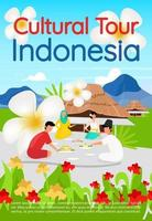 Cultural tour Indonesia brochure template. Asian food tourism. Flyer, booklet, leaflet concept with flat illustrations. Vector page cartoon layout for magazine. advertising invitation with text space