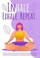 Breathing exercises brochure template. Meditation poses. Bodypositive yoga flyer, booklet, leaflet concept with flat illustrations. Vector page cartoon layout for magazine with text space