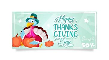 Happy Thanksgiving day banner flat vector template. Autumn holiday sale. Piligrims turkey with pumpkins isolated cartoon character. Banner, brochure, leaflet design layout with place for text