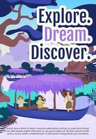 Explore, dream and discover brochure template. Flyer, booklet, leaflet concept with flat illustration. Vector page cartoon layout for magazine. Expedition advertising invitation with text space