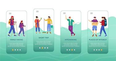 Budget tourism onboarding mobile app screen vector template. Cheap travelling ideas. Walkthrough website steps with flat characters. UX, UI, GUI smartphone cartoon interface concept