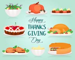 Happy Thanksgiving flat greeting card vector template. Different types of holiday dishes. Turkey and cherry pie. Postcard design with cartoon illustrations. Banner layout with typography