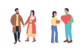 Happy couples in love flat color vector detailed character set