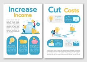 Increase income brochure template. Cut costs. Business strategy. Flyer, booklet, leaflet concept, flat illustrations. Vector page cartoon layout for magazine. advertising invitation with text space