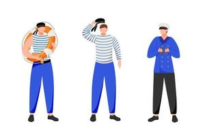 Maritime occupation flat vector illustration. Marine professions. Seafarers in work uniform. Sailors and navigator in work uniform isolated cartoon characters on white background