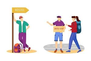 Hitchhiking flat vector illustration. Cheap travelling ideas. Staying in hostel. Stopping car for ride. Trip ideas for youth. Budget tourism isolated cartoon character on white background