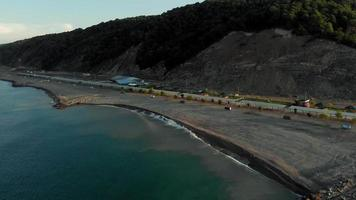 The coastline of the sea at dawn Aerial Video Filming