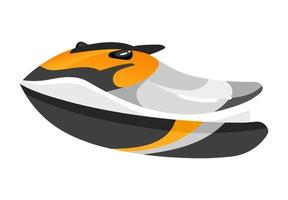 Boat flat vector illustration. Vehicle for extreme sports. Active lifestyle equipment. Outdoor activities. Fast personal water transport. Runabout isolated cartoon clipart on white background