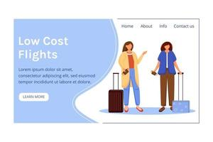 Low cost flights landing page vector template. Best travel deals website interface idea with flat illustrations. Budget tourism homepage layout. Cheap tickets web banner, webpage cartoon concept