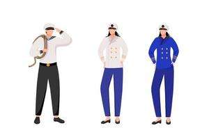 Maritime occupation flat vector illustration. Marine professions. Passenger fleet. Sailor and captains in work uniform isolated cartoon characters on white background