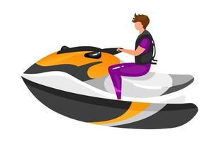 Man on boat flat vector illustration. Extreme sports experience. Active lifestyle. Summer vacation outdoor fun activities. Sportsman on speedboat isolated cartoon character on white background