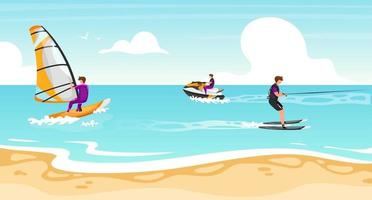 Water sports flat vector illustration. Windsurfing, water skiing experience. Sportsman on water scooter active outdoor lifestyle. Tropical coastline, turquoise waterscape. Athletes cartoon characters