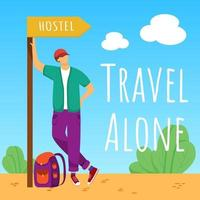 Travel alone social media post mockup. Staying in hostel. Budget tourism. Advertising banner design template. Social media booster, content layout. Promotion poster, print ads with flat illustrations vector