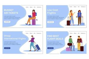 Budget tourism landing page vector template set. Best travel deals website interface idea with flat illustrations. Low cost flights homepage layout. Cheap tickets web banner, webpage cartoon concept