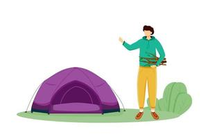Staying in tent flat vector illustration. Summer camping activity. Cheap travelling choice. Active vacation. Young man on forest trip. Budget tourism isolated cartoon character on white background